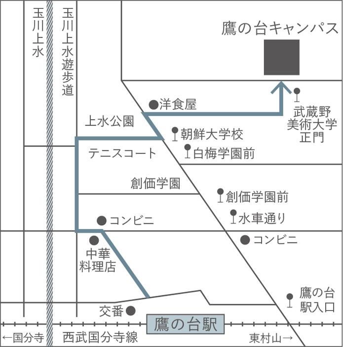 地図:西武国分寺線「鷹の台」駅下車 徒歩18分